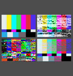 no signal tv test pattern background set vector image
