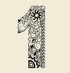 Number 1 floral decorative ornament vector image