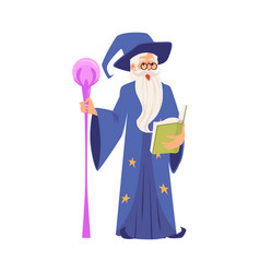 old warlock in wizards robe flat vector image