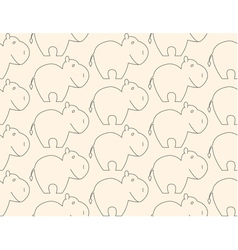 One line hippo seamless pattern vector