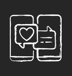 Online dating chalk white icon on dark background vector