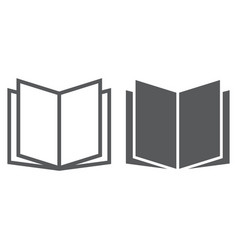 open book line and glyph icon school and vector image