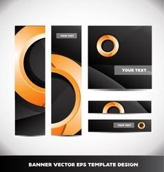 Orange circle black banner template design set vector