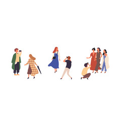 people in autumn fashionable clothes flat vector image