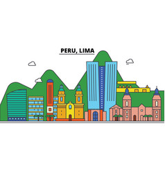 Peru lima city skyline architecture buildings vector