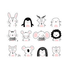 Poster with cute animal portraits for a card baby vector