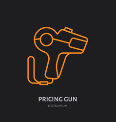 pricing gun flat line icon shop equipment vector image