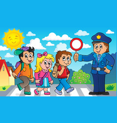 Pupils and policeman image 2 vector