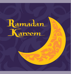 ramadan kareem poster with crescent moon muslim vector image