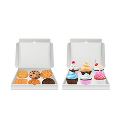 realistic cupcakes and cookies biscuits muffins vector image