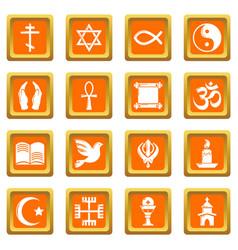 religion icons set orange square vector image