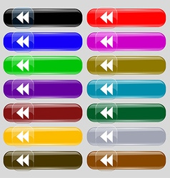 rewind icon sign Set from fourteen multi-colored vector image