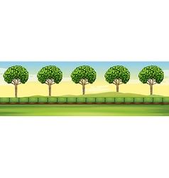 Scene with trees and field vector image