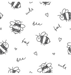 seamless pattern of bees vector image