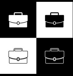 Set briefcase icons isolated on black and white vector