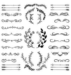 set doodle design elements vector image