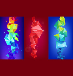 set of 3d geometric shapes facet vertical vector image