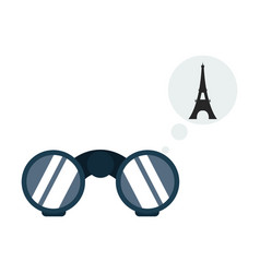set paris with hand drawn eiffel tower and eye vector image