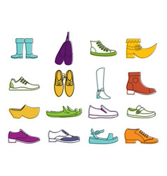 Shoes icon set color outline style vector