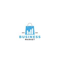 Shop bag market analytics graph logo design vector
