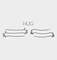 simple line creating hug drawing vector image