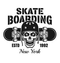 skull in helmet and skateboard emblem vector image