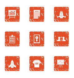 Space advertising icons set grunge style vector