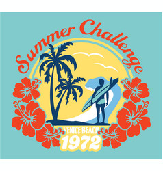 summer surfing challenge california vector image