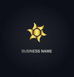 Sun shine gold logo vector
