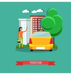 Taxicab concept flat design vector image