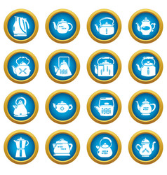 teapot icons set simple style vector image