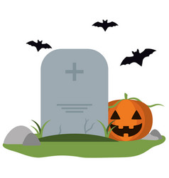 Tombstone and pumpkin with bats vector