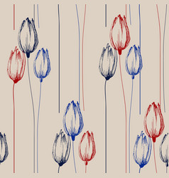 tulip flowers bouquets seamless pattern in retro vector image
