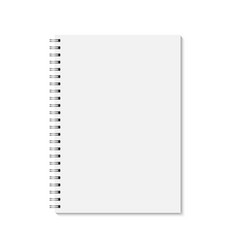 Vertical blank copybook with silver spiral vector