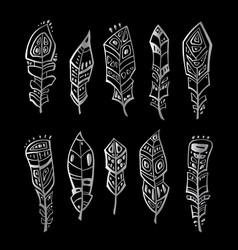 vintage feather set vector image