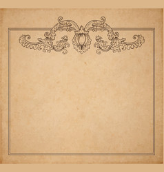 Vintage old paper texture with floral frame and vector