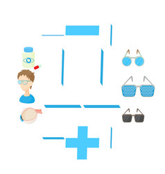 vision correction icons set cartoon style vector image