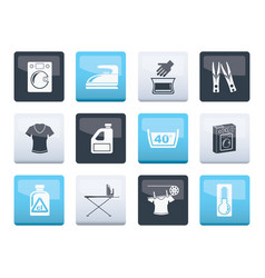 Washing machine and laundry icons over vector