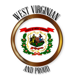 West virginia proud flag button vector
