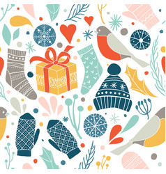 winter seamless pattern with vector image