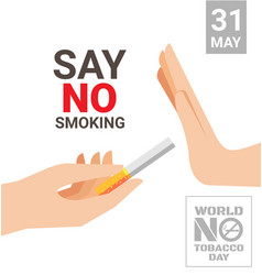 world no tobacco day for say no smoking concept vector image