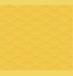Yellow seigaiha japanese wave pattern vector