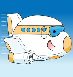 cheerful cartoon airplane vector image vector image