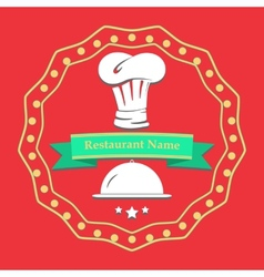 Flat poster Restaurant name card Cooking kitchen vector image