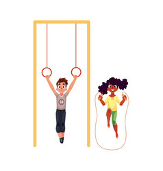 friends playing with gymnastic rings and jumping vector image vector image
