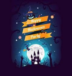 halloween character and element design background vector image