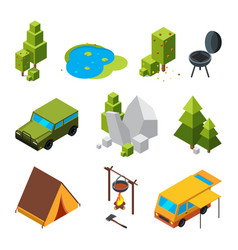 isometric pictures of camping garden stones and vector image