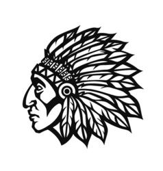 Native American Indian Chief head profile Mascot vector image