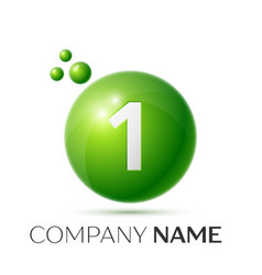 Number one splash green dots and bubbles number vector