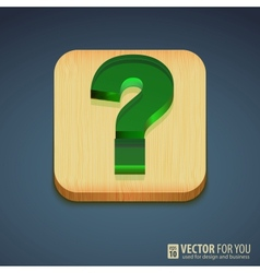 Question mark on a wooden stand reflections vector image
